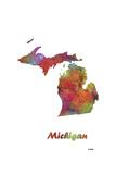 Michigan State Map 1 Reproduction procédé giclée par Marlene Watson