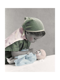 Young Girl Dressed as Nurse Tending to a Baby Doll.Get Well Giclee Print by Nora Hernandez