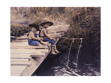 Two Boys Fishing Off of Bridge Giclee Print by Nora Hernandez