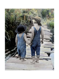 Two Boys Walking on Bridge Hand-In-Hand Giclee Print by Nora Hernandez