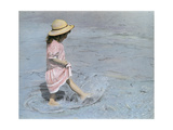 Little Girl Playing in Water on Beach Giclee Print by Nora Hernandez