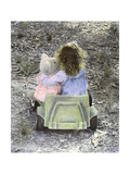 Little Girl with Her Teddy Bear Riding in a Toy Car Giclee Print by Nora Hernandez