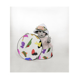 Baby in Hat Box Wearing the Hat from the Box Giclee Print by Nora Hernandez