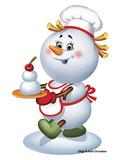 Snowman Cook Reproduction photographique par Olga And Alexey Drozdov