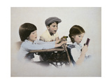 Two Boys Tormenting Little Girl at School Giclee Print by Nora Hernandez