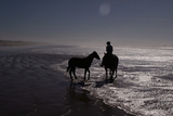 Man with Horses on the Beach Photographic Print by Nora Hernandez