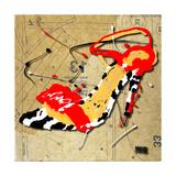 Zebra Heel Red Giclée-Druck von Roderick E. Stevens