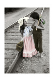 Boy and Girl Carrying Packs Walking by Railroad Tracks Giclee Print by Nora Hernandez
