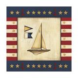 Yellow Sail Boat Giclée-tryk af Stephanie Marrott