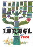 Israel - Fly TWA (Trans World Airlines) - Menorah Kunstdrucke von David Klein