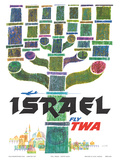 Israel - Fly TWA (Trans World Airlines) - Menorah Posters by David Klein