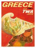 Greece - Fly TWA Jets (Trans World Airlines) - Greek Warrior Plakater af David Klein