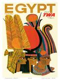 Egypt - Fly TWA (Trans World Airlines) - United Arab Republic (U.A.R.) - Egyptian Pharaohs Kunstdrucke von David Klein