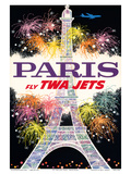 Paris, France - Fly TWA Jets - Trans World Airlines - Fireworks at Eiffel Tower Art by David Klein