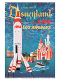 Disneyland - Los Angeles - Fly TWA (Trans World Airlines) - Tomorrowland TWA Moonliner Posters by David Klein