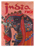 India - Fly TWA Jets (Trans World Airlines) - Adorned Elephant 高品質プリント : デイヴィッド・クライン