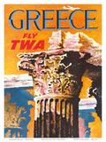 Greece - Fly TWA (Trans World Airlines) - Corinthian Style Greek Column Posters af David Klein
