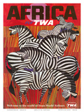 Africa - Fly TWA (Trans World Airlines) - Zebras Plakater af David Klein