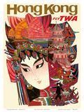 Hong Kong - Fly TWA (Trans World Airlines) Kunstdruck von David Klein
