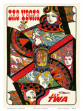 Las Vegas, Nevada - Fly TWA (Trans World Airlines) - Queen Playing Card Prints by David Klein
