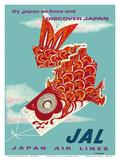 Discover Japan - Fly Japan Air Lines (JAL) - Japanese Koinobori (Carp Streamer) Posters por  Murakoshi