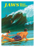 Jaws - Maui, Hawaii - Big Wave Surfing Poster av Chas Allen