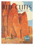 Red Cliffs - Continental Divide, New Mexico - Santa Fe Railroad Company Posters by Willard Elms