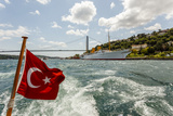Ataturk's Yacht Savarona, Turkish Flag and Bridge, Istanbul, Turkey Photographic Print by Ali Kabas
