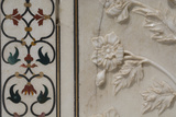India, Agra, Taj Mahal. Detail of Marble Inlay with Carved Flowers Fotografisk tryk af Cindy Miller Hopkins