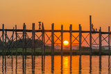 Myanmar. Mandalay. Amarapura. Tourists on the U Bein Bridge at Sunset Photographic Print by Inger Hogstrom