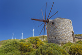 Old Windmill and Modern Wind Turbines. Naxos Island, Greece Photographic Print by Ali Kabas