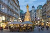 The Plague Column, Graben Street at Night, Vienna, Austria Trykk på strukket lerret av Peter Adams