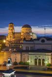 Bulgaria, Sofia, Ploshtad Narodno Sabranie Square, Elevated View, Dawn Photographic Print by Walter Bibikow