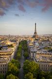 Evening Sunlight over the Eiffel Tower and Buildings of Paris, France Fotografie-Druck von Brian Jannsen