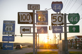 Road Sign at Sunset, Pacific, Missouri, USA. Route 66 Photographic Print by Julien McRoberts