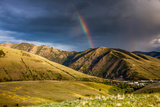 Rainbow at Sunset over Hellgate Canyon in Missoula, Montana Reproduction photographique par James White