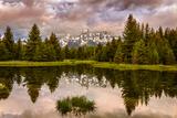 USA, Wyoming, Grand Teton's National Park Schwabacher Landing Sunrise Fotografisk tryk af Ford, John