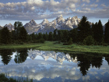 Wyoming, Grand Teton NP, the Grand Tetons and Clouds Fotografisk tryk af Christopher Talbot Frank