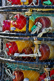 USA, Oregon, Garibaldi. Stacked Crab Pots on Dock Fotografisk trykk av Jean Carter
