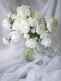 White Peonies in a Vase Foto von Anna Miller