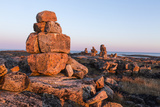 Canada, Nunavut, Territory, Stone Cairn on Harbor Islands at Sunset Photo by Paul Souders