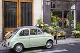 Fiat on the Sidewalk at the Florist Shop, les Marais, Paris, France Foto av Brian Jannsen
