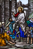 Romania, Transylvania, Greco-Catholic Cathedral, Stained Glass Window Foto von Walter Bibikow