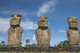Chile, Easter Island. Ahu Akivi, Ceremonial Platform with Moi Statues Fotografia por Cindy Miller Hopkins