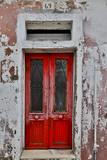 Red Doorway Old Building Burano, Italy Foto von Darrell Gulin