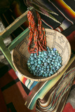 Basket Containing Round Turquoise Beads, Santa Fe, New Mexico, USA Photo by Julien McRoberts
