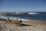 Bench on Beach with Waves, Monterey Peninsula, California Coast Photo by Sheila Haddad