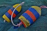 USA, Oregon, Garibaldi. Blue Fishing Nets with Buoys Foto av Jean Carter