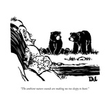Two sluggish bears converse by a fish-filled stream.  - New Yorker Cartoon Reproduction giclée Premium par Drew Dernavich