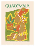 Guatemala - Yum Kax, Dios Del Maiz (Lord of the Forest) - Mayan God of Wild Plants and Animals Poster von  Pacifica Island Art